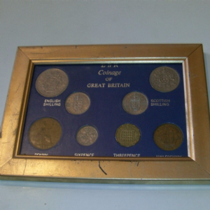 Great Britain Coinage 1962 8 coins mounted in frame Cheap for sale